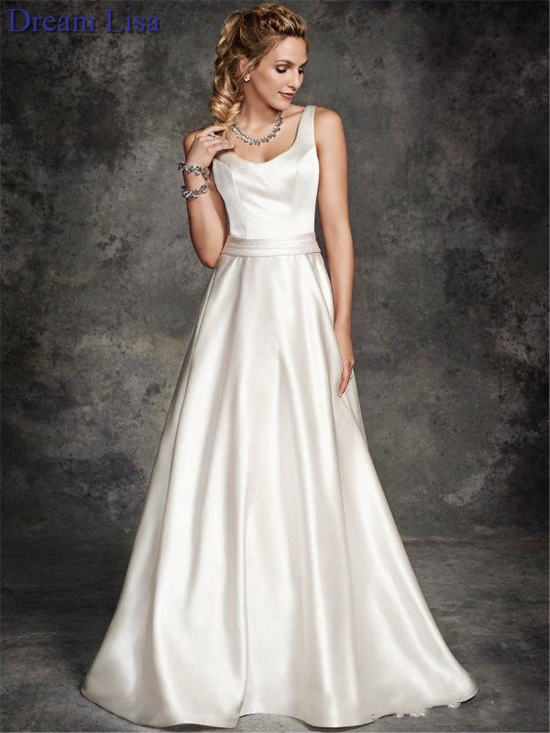 Satin wedding dress 2015 a line short sleeves wedding for Satin a line wedding dress