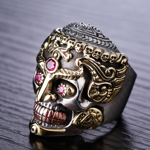 Handmade 925 Silver Skull Ring Vintage sterling silver Skeleton ring PUNK ring Man Ring