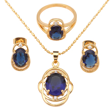 !18K Gold Plated Earring Necklace Fashion Jewelry Sets Ring Blue Crystal Health Sz #6#7#8#9 JS470A - Jos fan's store