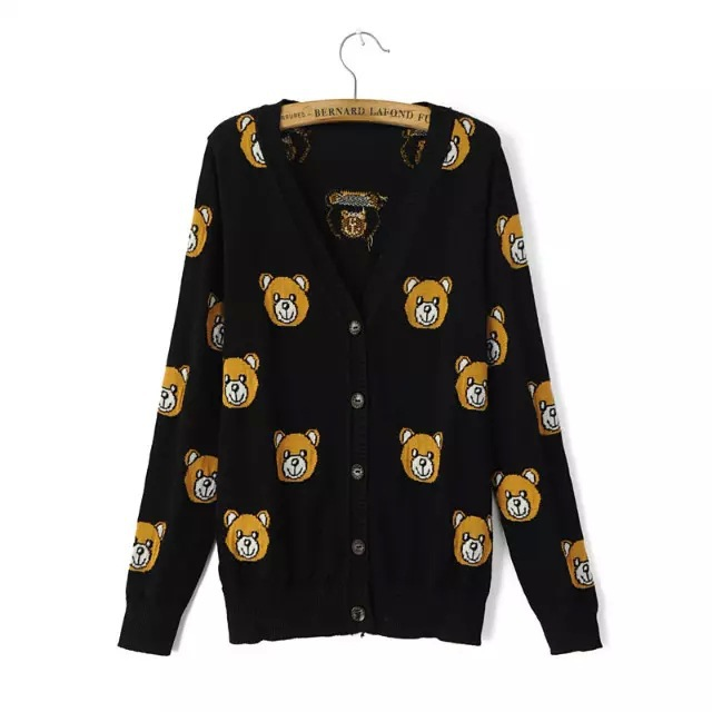 2015 Black Single Breast V-neck Knit Sweater Full Sleeve Printed Little Bear Cardigan Outwear Autumn Underwear(China (Mainland))