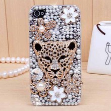 Luxury crystal pearl bling diamond rhinestone protective cover case For Apple iphone 4 iphone 4s case(China (Mainland))