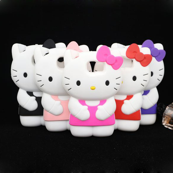 Free ship! New Arrival 3D Cute Cartoon Hello Kitty Cat Silicone Cover Case For Samsung Galaxy S6 G9200(China (Mainland))