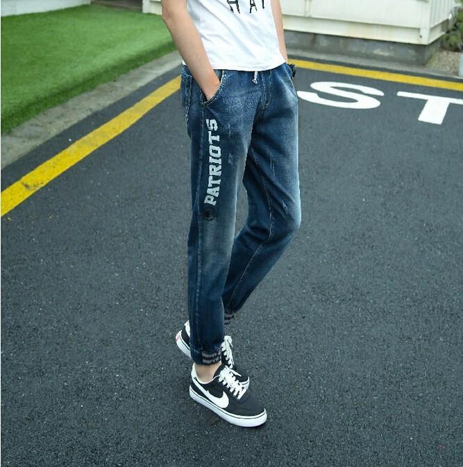 Скидки на 2016 свободного покроя джинсы высокое качество хлопок мужские джинсы синий карандаш письмо печать Balmai джинсы джинсы homme