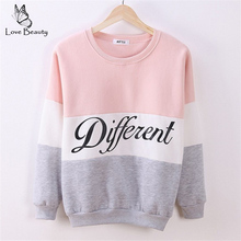 2015 Autumn and winter women fleeve hoodies printed letters Different women's casual sweatshirt hoody sudaderas EPHO80027(China (Mainland))