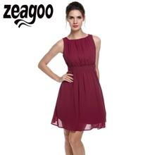 Zeagoo Elegant Dress Summer Chiffon Sleeveless Draped Flare Fit party Dresses Vestidos Fashion Party Casual Summer Dress(China)