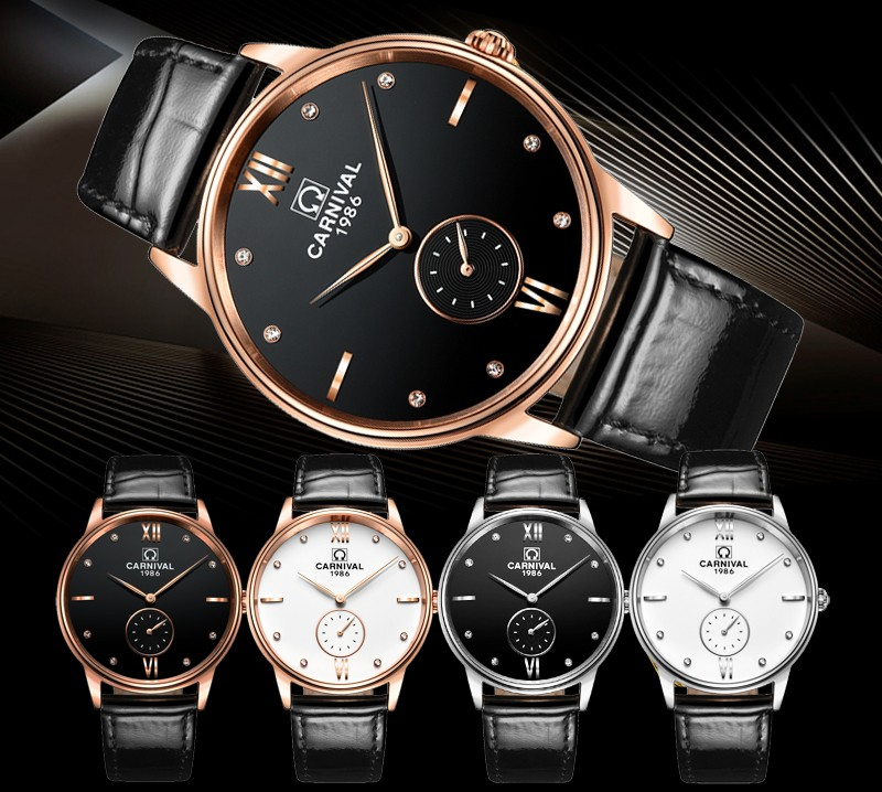 Luxury Carnival big dial ultrathin  Waterproof  watch men Sapphire quartz silver wristwatch relogio masculino