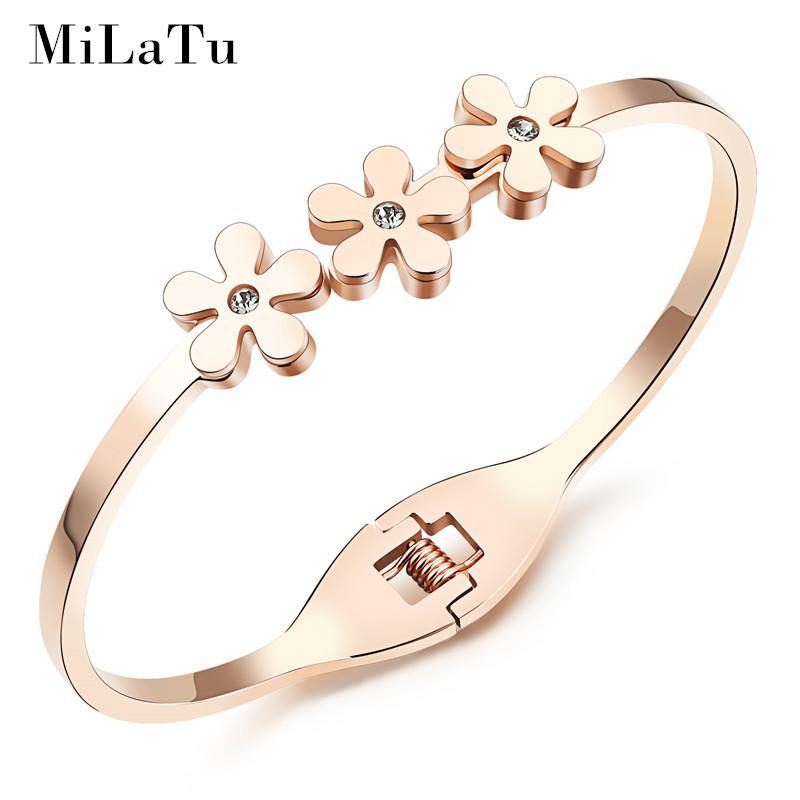 MiLaTu Fashion Daisy Bangles Bracelets For Women 18K Rose Gold Plated Stainless Steel Cubic Zirconia Bangle Hot Sale B259(China (Mainland))