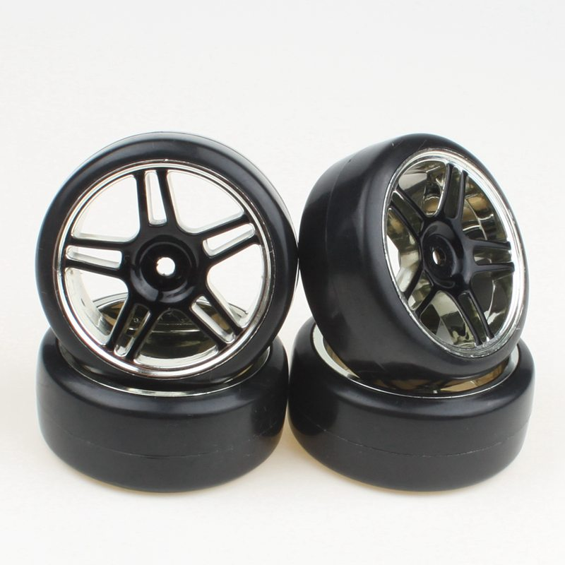 4pcs Variety of colors 5 Shape Plating Hub Wheel Rim Smooth Tires For RC 1:10 Drift Car(China (Mainland))