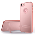For iPhone 7 Case Dual Layer Aluminum Back Cover Shell with Metal Kickstand Soft TPU Side