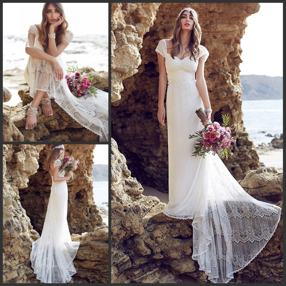 2016 anna campbell lace beach wedding dresses cap sleeves for Where to buy boho wedding dresses