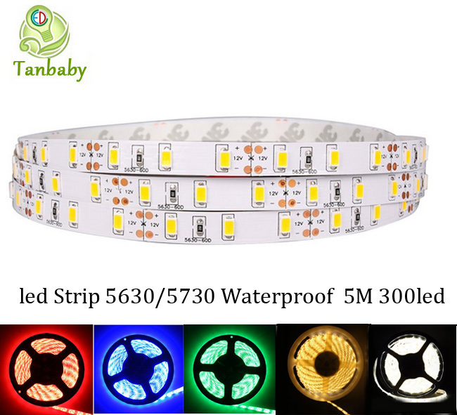 Tanbaby 5M/roll led strip 5630 DC12V 5M 300led flexible 5730 led rope bar light waterproof outdoor decoration ulter bright(China (Mainland))