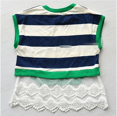()- 2016 summer lace green black white striped T-shirt AGE 2-7 child girl - guangdong humen costume Factory store