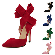 Hot Sexy High Heels Summer Autumn Wedding Shoes Women Pumps Butterfly Knot Red Heel Ladies High Heels Pointed Toe Women Shoes(China (Mainland))