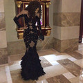 Luxury Black Feather Prom Dresses With Long Sleeves Sheer Champange Arabic Evening Gowns Real Tulle Mermaid
