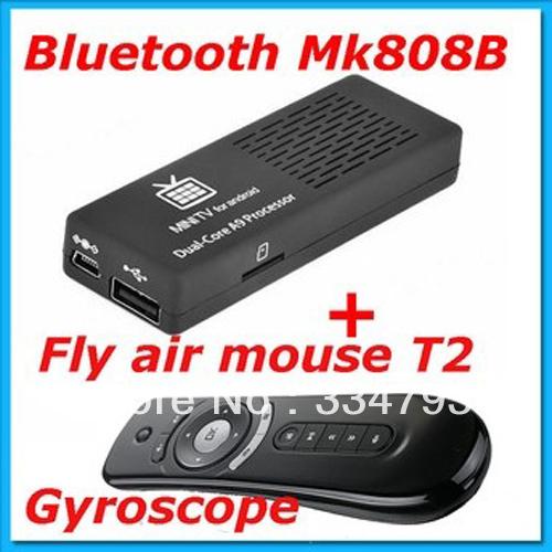 MK808B Bluetooth TV BOX RockChip RK3066 MK808 Mini PC Dual Core 1GB RAM 8GB Android 4.2.2 Google TV BOX + Fly air mouse T2(China (Mainland))