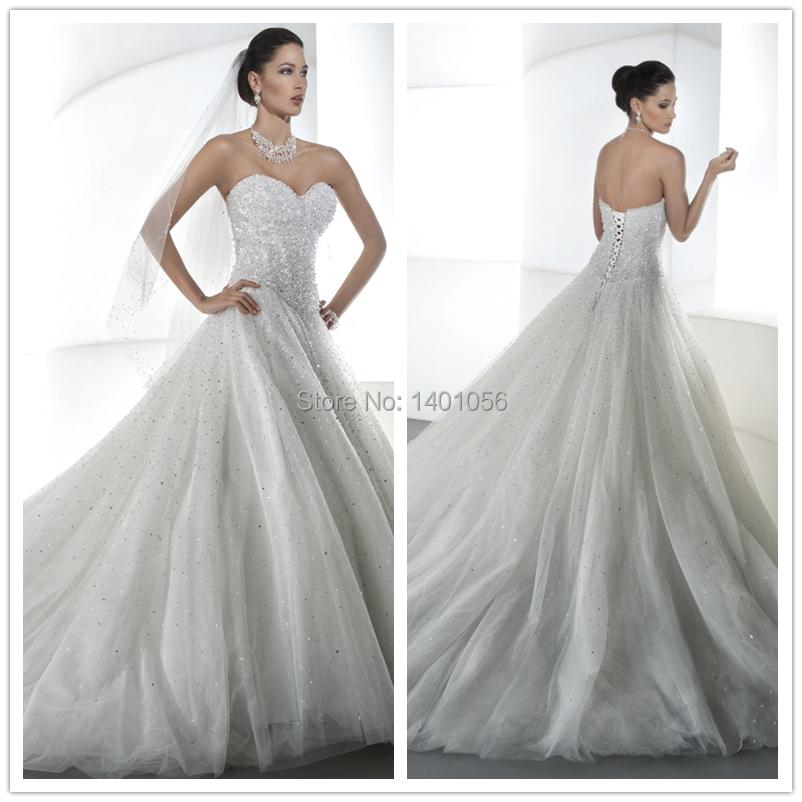 Famous designer beaded wedding dress white sweetheart for Beaded wedding dress designers