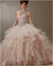 2016 New Arrival Bare Pink Ball Gown Organza Ruffled Beading Quinceanera Dresses Pageant 15 years dress vestido de debutante(China (Mainland))
