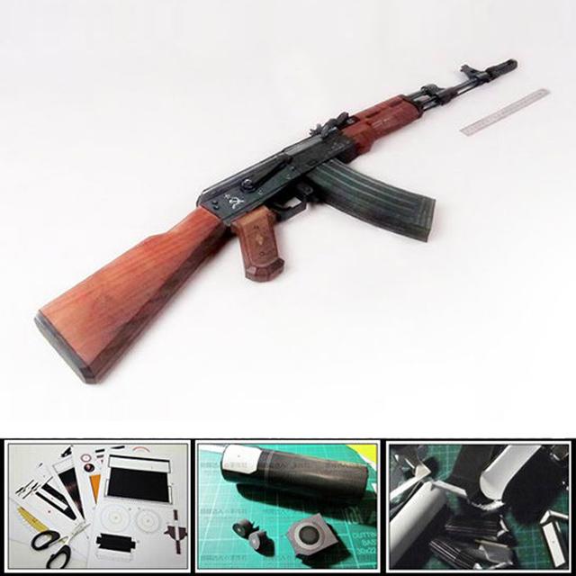 New 2016 3D Paper Model Gun AK 47 Assault rifle diy puzzles 1:1 scale firearm magazine version Educational assemble Toy