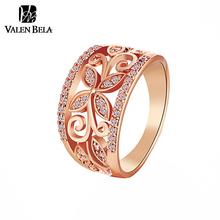 VALEN BELA Rose G Oldดอกไม้Cubic Z Irconiaแหวนผู้หญิงขนาด6,7, 8,9หญิงG Old P Latedแหวนแต่งงานเครื่องประดับขายส่งJZ5167