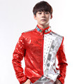 S 5XL 2016 Male dj punk red paillette reflective lens rivets stage outerwear male costume