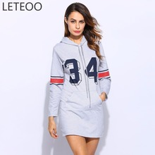 Buy LETEOO Spring Autumn Casual Women Long Sleeve Hooded Hoodie Dress Gray Ladies Letter Print Bodycon Pullover Sporting Costume L20 for $14.92 in AliExpress store