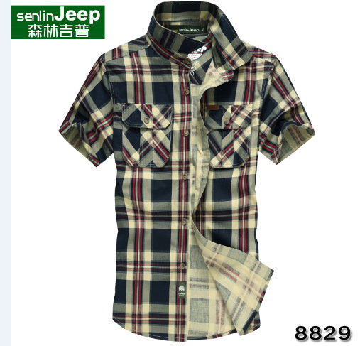 Short-sleeved summer new men's casual shirt , men fashion loose short-sleeved plaid washed cardigan - free city store