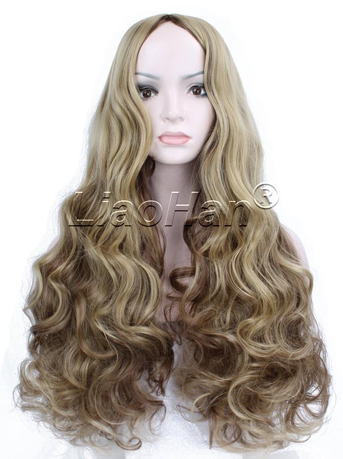Brown Curly Hair Long Wig 116