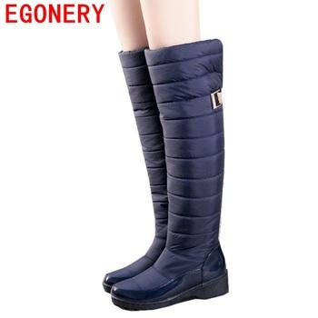 2016 fashion women's autumn winter over the knee high boots style black blue shoes woman warm fur snow boots plush women shoes