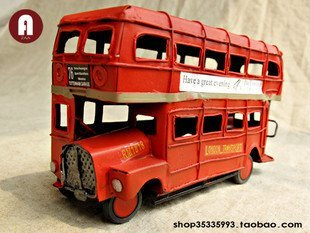 Souvenir Collectable classic london red double-decker bus DIY tinplate model