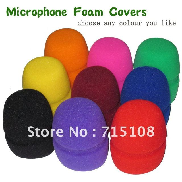 free Shipping 10pcs Lot Flat Microphone Windscreen Foam Cover Microphone Grill Audio Microphone Wiindshield karaoke microphone