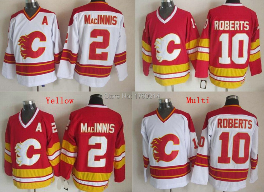 Wholesale Men's Calgary Flames Throwback Hockey Jerseys #2 Allan MacInnis #10 Gary Roberts Jersey Color White Red Cheap Stitched(China (Mainland))
