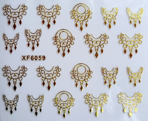XF6059 2015 New Gold Silver Fashion style Water Transfer Stickers 3D Design DIY Nail Art Decorations