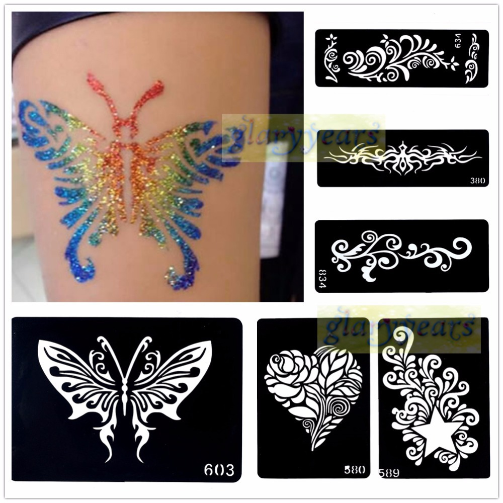 Buy 1pc mehndi henna glitter temporary for Henna temporary tattoo stencils