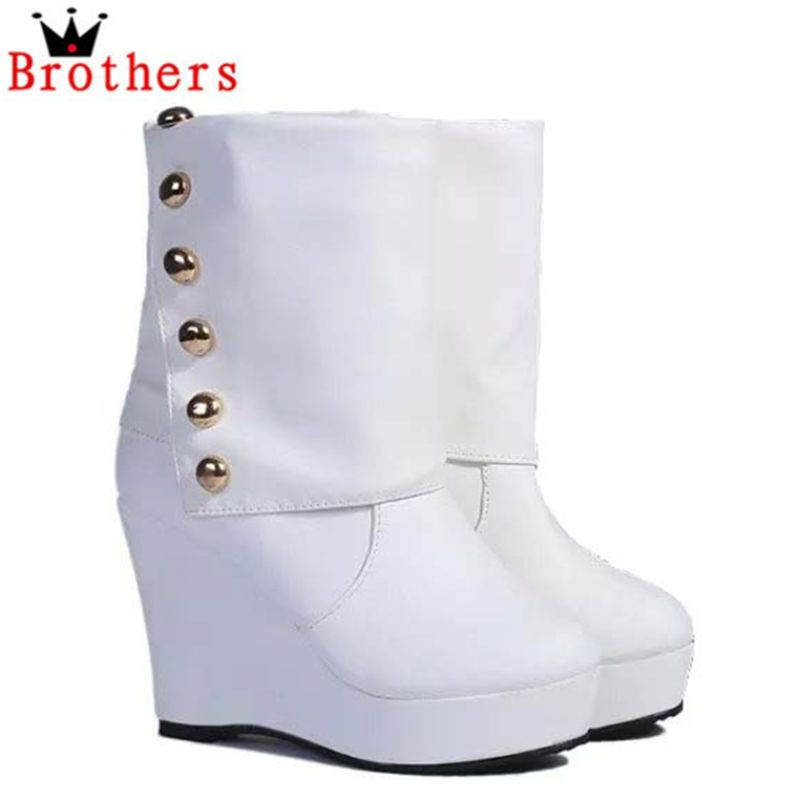Womens fashion rivets wedges, the European version of the new ladies-in-tube high-heeled boots //Slope with motorcycle boots<br><br>Aliexpress