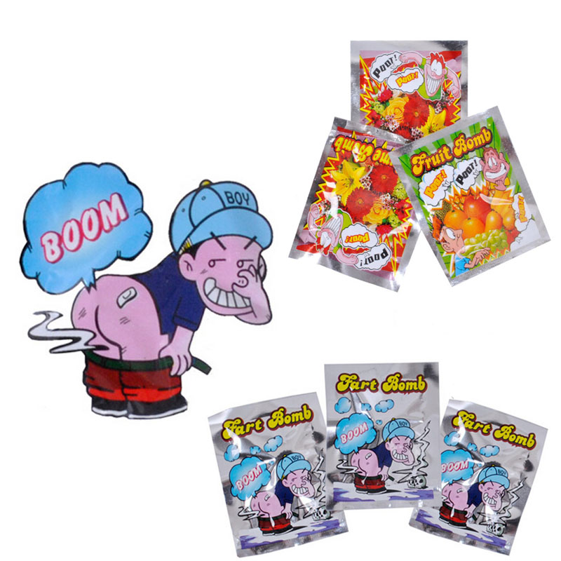 10PCS New Funny Shock Toys Explosion Smelly Package the Whole People Toy Stink Fart Packages Odor BS88(China (Mainland))
