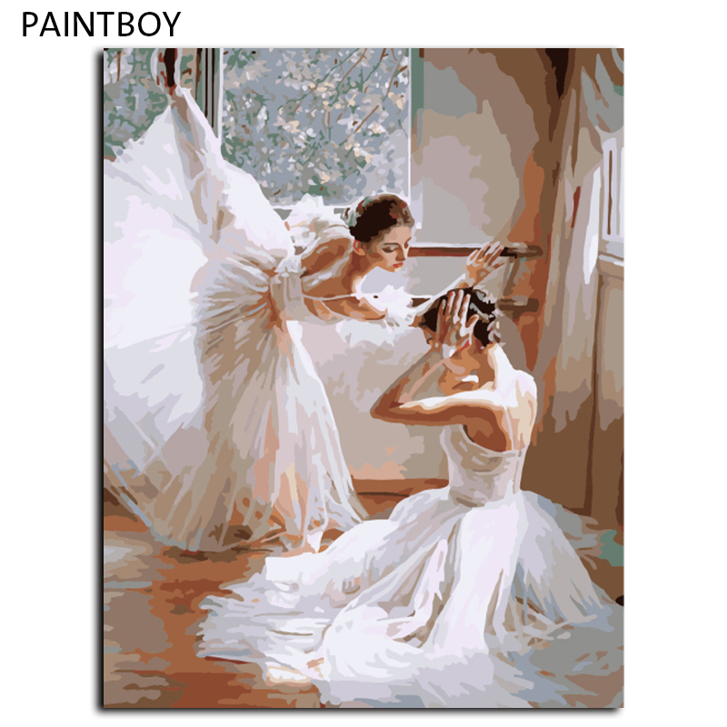 Oil Painting Frameless Picture Painting By Numbers Ballet Girl DIY Digital Canvas Oil Painting Home Decor For Living Room G399(China (Mainland))
