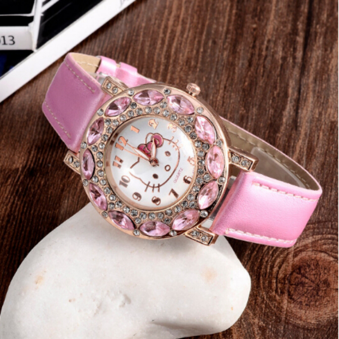 2015 Holiday Sale New Arrival Cheap Lovely Girls Hello Kitty Women Watch Children Fashion Kids Crystal Wrist Watch For Gift.(China (Mainland))