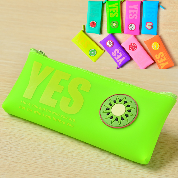 South Korea creative stationery wholesale jelly silicone fruits morning language savory three large capacity pencil case Pencil<br><br>Aliexpress