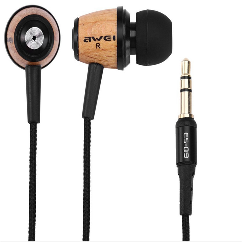 HOT Sale! Original AWEI Q9 Bass Earbuds 3.5mm in Ear Wooden Earphone for Cellphone High Quality Durable Soft Portable Earphone(China (Mainland))