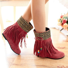 Winter Snow Boots Fringed Increased Female Korean Large Size 40-43 Single Shoes 2015 New Autumn Tassel Women Boots