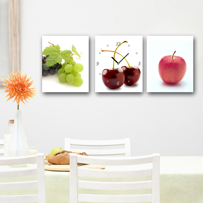 New Style High-qiality HD Print Modern picture on canvas Fruit a clock 3PC_01(China (Mainland))