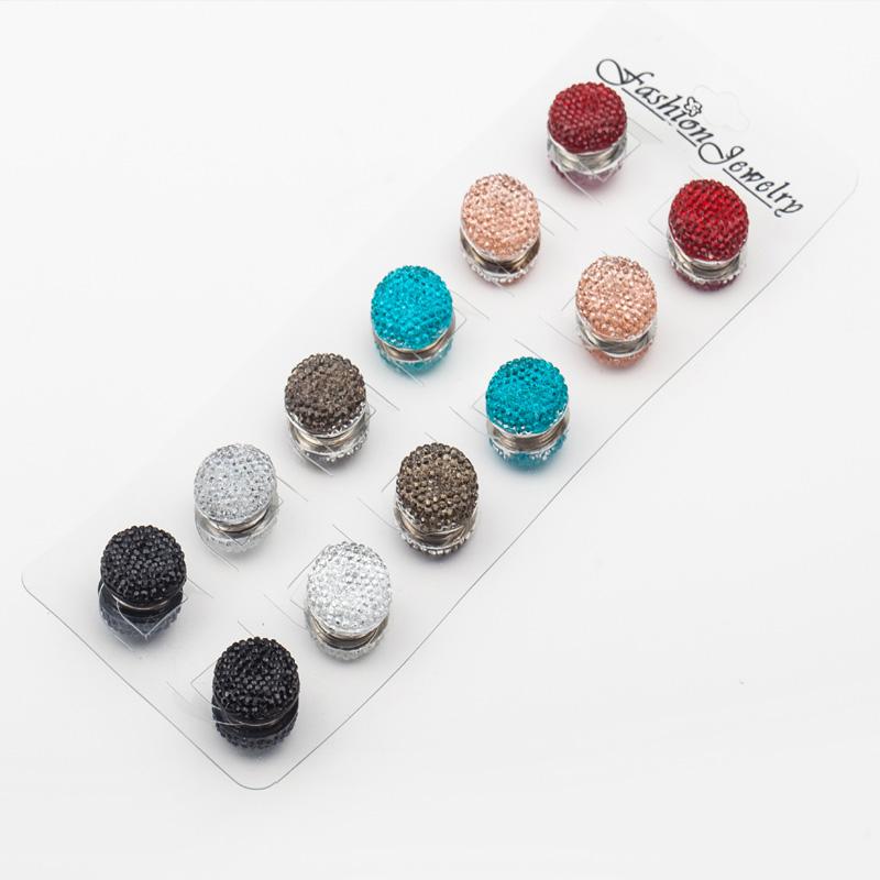 12pair/lot lnlay rhinestones magnet brooch hijab accessories muslim pin hijab scarf buckle classic round magnet Wholesale(China (Mainland))