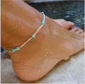 1Pcs Unique Nice Turquoise Beads Silver Chain Anklet souvenir Ankle Bracelet Foot Jewelry Fast Free Shipping