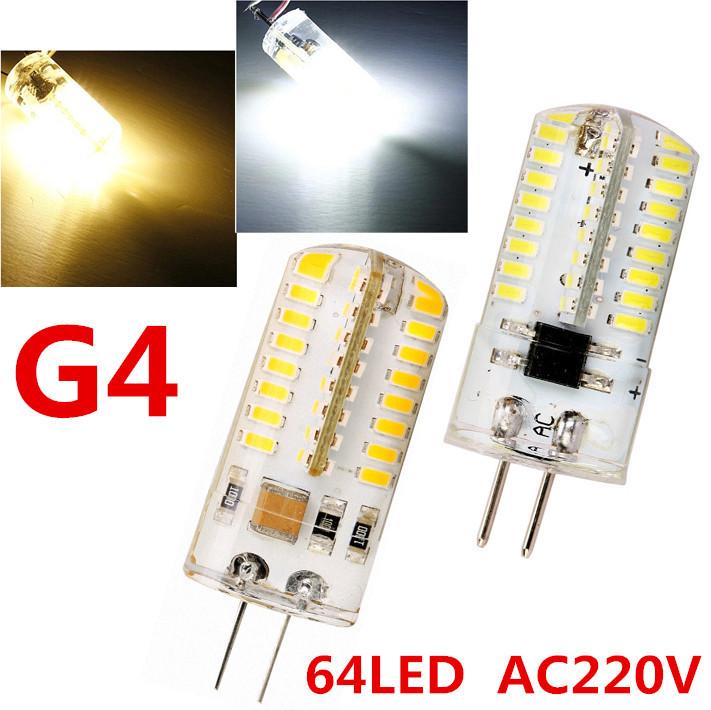 10Pcs LED G4 6W 3014 SMD 64 Waterproof Droplight Corn Bulb AC 220V LED Crystal Chandeliers Light Bulbs Tubes Lamps FREE SHIPPING(China (Mainland))