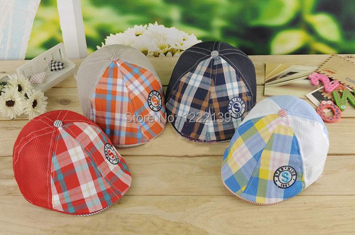 Checked kids newsboy beret mesh hat gatsby summer visor cap for children(China (Mainland))