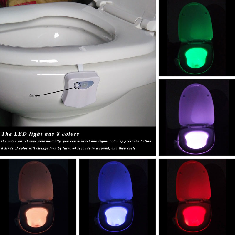 8 Colors LED Lights with Motion Sensor Toilet Light 3A Battery-operated Automatic Lamp RGB toilette Led Night Light Colorful