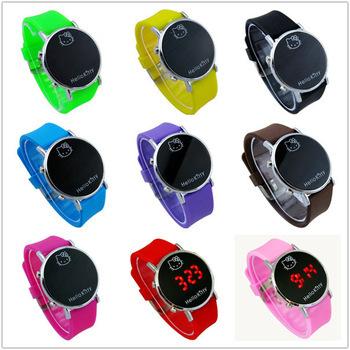 Electronic 2015 New Hello Kitty Cartoon Girls Kid Children Reloj Clock Sport Wristwatches Casual Silicone Digital LED Watches(China (Mainland))