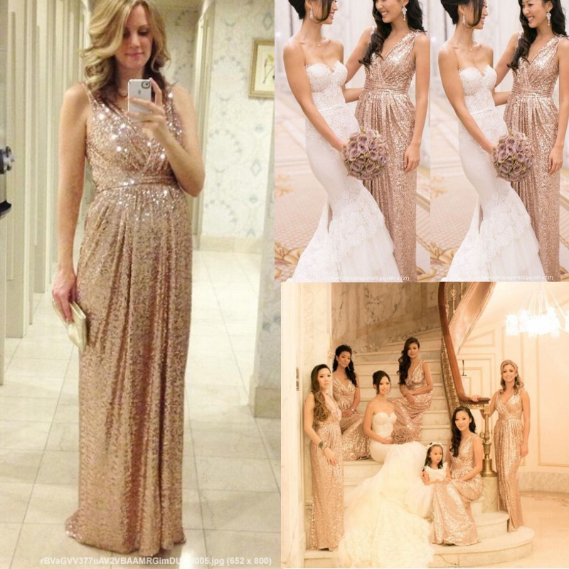 Champagne gold bridesmaid dresses 2015 new women wedding for Champagne gold wedding dress