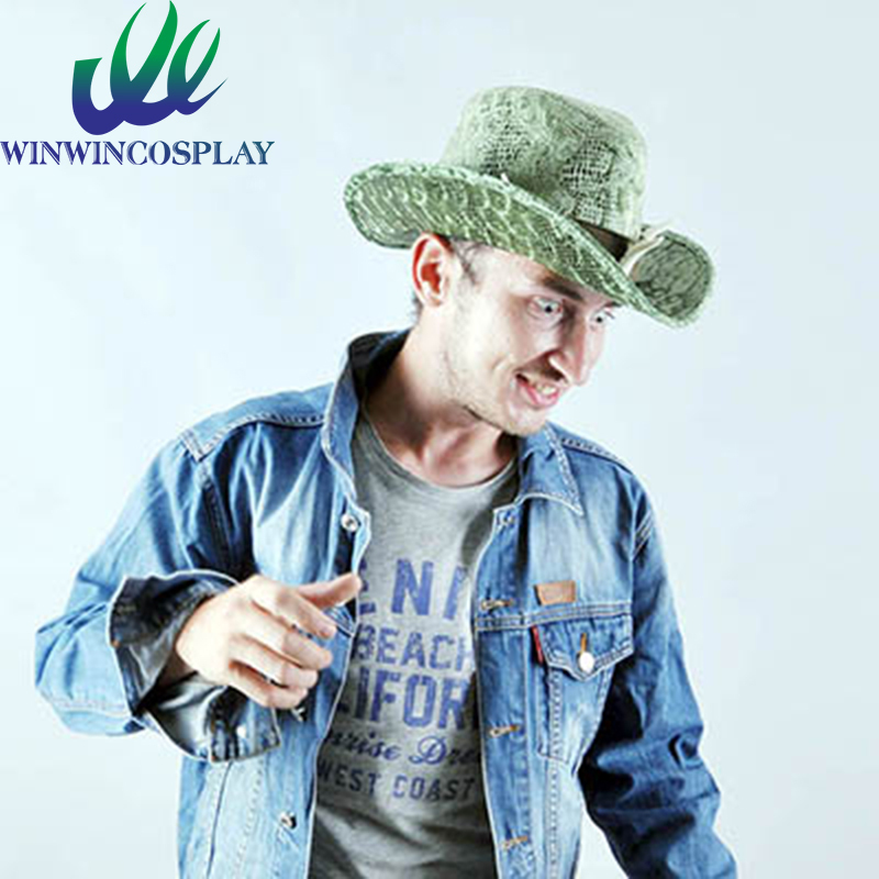 Jurassic Summer Hat Men and Women Cowboy Hat Chameleon Red Green Dinosaur Cosplay Hat With Ivory Free Shipping(China (Mainland))