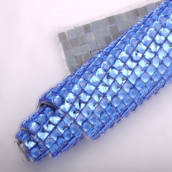Square 8X8mm Lt sapphire Rhinestone Mesh 24*40CM Hot-fix glue crystal mesh trim for Motif rhinestones free shipping(China (Mainland))